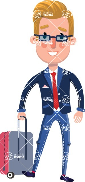 Businessman Cartoon Character in Flat Style - with Suitcase