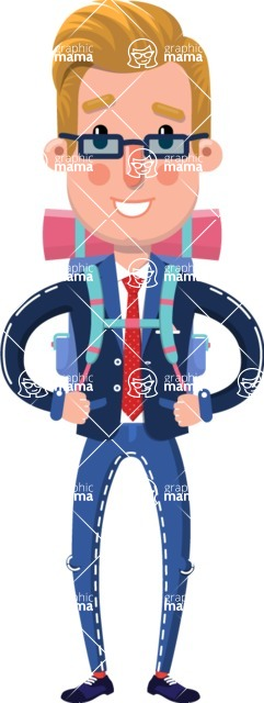 Businessman Cartoon Character in Flat Style - Traveling