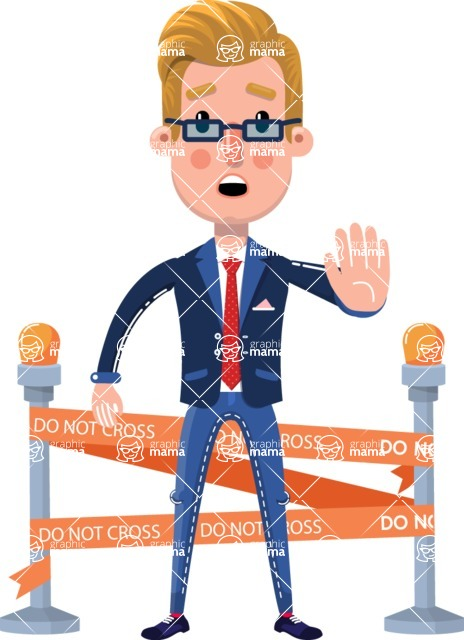Businessman Cartoon Character in Flat Style - with Under Construction sign