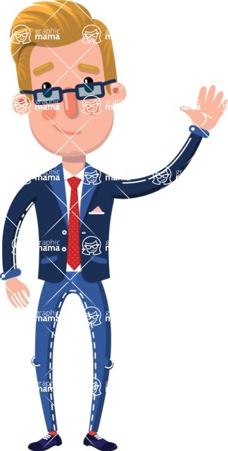 Businessman Cartoon Character in Flat Style - Waving