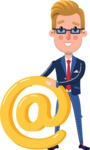 Businessman Cartoon Character in Flat Style - with Email sign