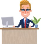 Businessman Cartoon Character in Flat Style - Sitting at desk