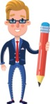 Businessman Cartoon Character in Flat Style - Holding Pencil