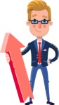 Businessman Cartoon Character in Flat Style - with Up arrow