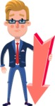 Businessman Cartoon Character in Flat Style - with Arrow going Down