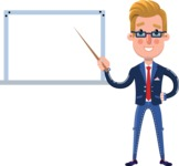 Businessman Cartoon Character in Flat Style - Making a Presentation on a Blank white board