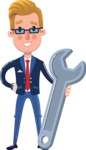 Businessman Cartoon Character in Flat Style - with Repairing tool wrench
