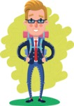 Businessman Cartoon Character in Flat Style - Shape 6