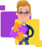 Businessman Cartoon Character in Flat Style - Shape 7