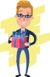 Businessman Cartoon Character in Flat Style - Shape 8