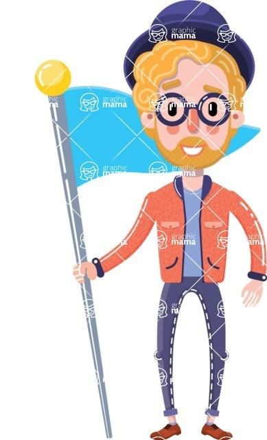 Young Blond Man Flat Cartoon Character Vector Cartoon