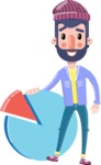 Man with Beard Cartoon Character in Flat Style - with Business graph