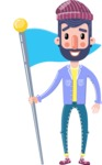 Man with Beard Cartoon Character in Flat Style - with Flag