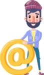 Man with Beard Cartoon Character in Flat Style - with Email sign