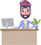 Man with Beard Cartoon Character in Flat Style - Sitting at desk