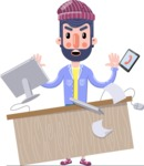 Man with Beard Cartoon Character in Flat Style - Stressed out