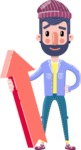 Man with Beard Cartoon Character in Flat Style - with Up arrow