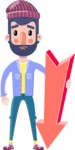 Man with Beard Cartoon Character in Flat Style - with Arrow going Down