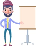 Man with Beard Cartoon Character in Flat Style - with a Blank Presentation board