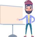 Man with Beard Cartoon Character in Flat Style - Pointing on a Blank whiteboard