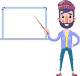 Man with Beard Cartoon Character in Flat Style - Making a Presentation on a Blank white board