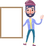 Man with Beard Cartoon Character in Flat Style - Making OK sign with Big Presentation board