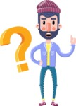Man with Beard Cartoon Character in Flat Style - with Question mark