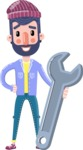 Man with Beard Cartoon Character in Flat Style - with Repairing tool wrench
