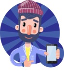 Man with Beard Cartoon Character in Flat Style - Shape 1
