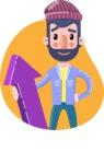 Man with Beard Cartoon Character in Flat Style - Shape 11