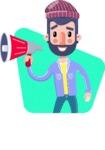 Man with Beard Cartoon Character in Flat Style - Shape 2