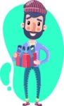 Man with Beard Cartoon Character in Flat Style - Shape 4