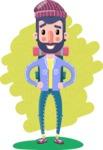 Man with Beard Cartoon Character in Flat Style - Shape 6