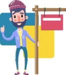 Man with Beard Cartoon Character in Flat Style - Shape 7