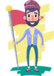 Man with Beard Cartoon Character in Flat Style - Shape 8