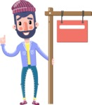 Man with Beard Cartoon Character in Flat Style - with Blank Real estate sign