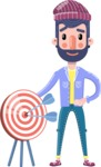 Man with Beard Cartoon Character in Flat Style - with Target