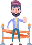 Man with Beard Cartoon Character in Flat Style - with Under Construction sign