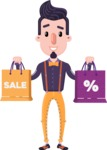 Cartoon Hipster in Flat Style Vector Character - Holding shopping bags