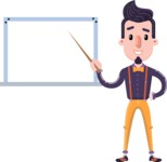 Cartoon Hipster in Flat Style Vector Character - Making a Presentation on a Blank white board