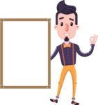 Cartoon Hipster in Flat Style Vector Character - Making OK sign with Big Presentation board
