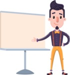 Cartoon Hipster in Flat Style Vector Character - Pointing on a Blank whiteboard