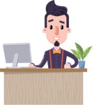 Cartoon Hipster in Flat Style Vector Character - Sitting at desk