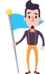 Cartoon Hipster in Flat Style Vector Character - with Flag