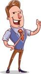 Cartoon Teacher Vector Character - Attention