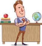 Cartoon Teacher Vector Character - With a Desk