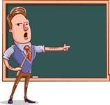 Cartoon Teacher Vector Character - Showing Blackboard