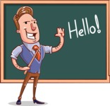 Cartoon Teacher Vector Character - Starting a Lesson