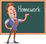 Cartoon Teacher Vector Character - Homework