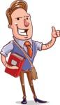 Cartoon Teacher Vector Character - Coming to Class